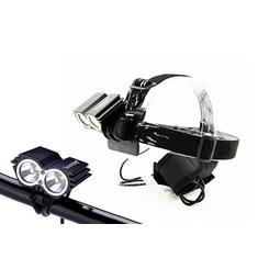 LED svítilna nabíjecí, cyklo a čelová,  1100lm, 2x Cree XML-T6 LED, černá