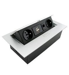 Výklopná zásuvková lišta 2x 230V, 2x USB + RJ45-kuchyňské linky a pod skladem 1ks