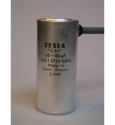 40-60uF 220-275V 50hz TC547 Tesla -kond. rozběhový