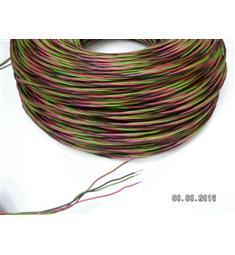 Zvonkový drát 4x0,8 CU, barvy zelená,černá,růžová,hnědá